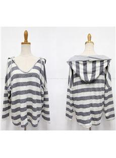 Multi Color Striped Loos Plus Size Soft T-shirt