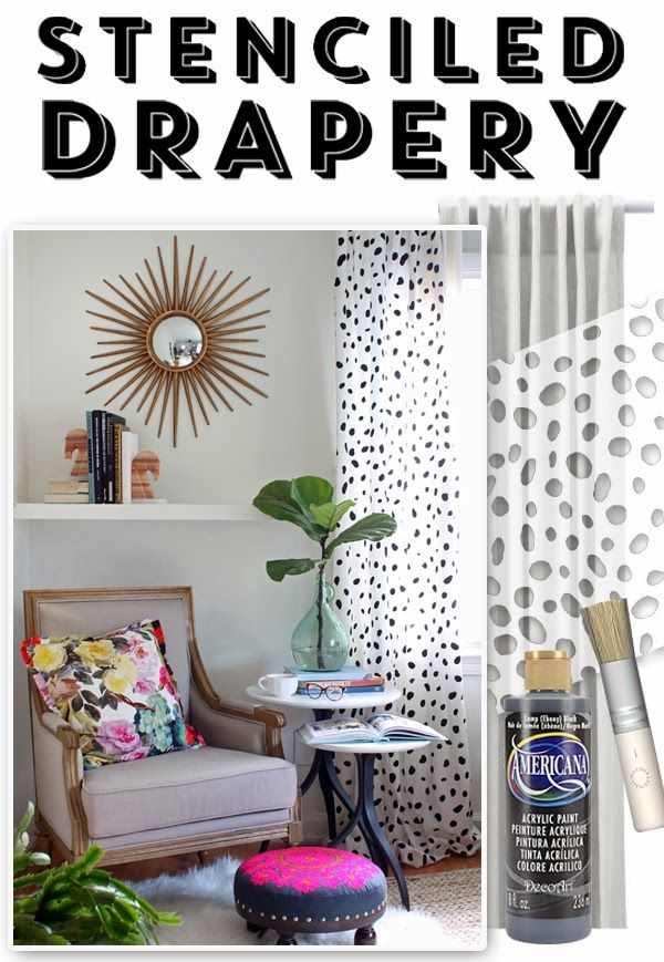 What a fun dyi for making spotted drapes!  ~Deborah  The HUNTED INTERIOR: DIY Spotted Drapery