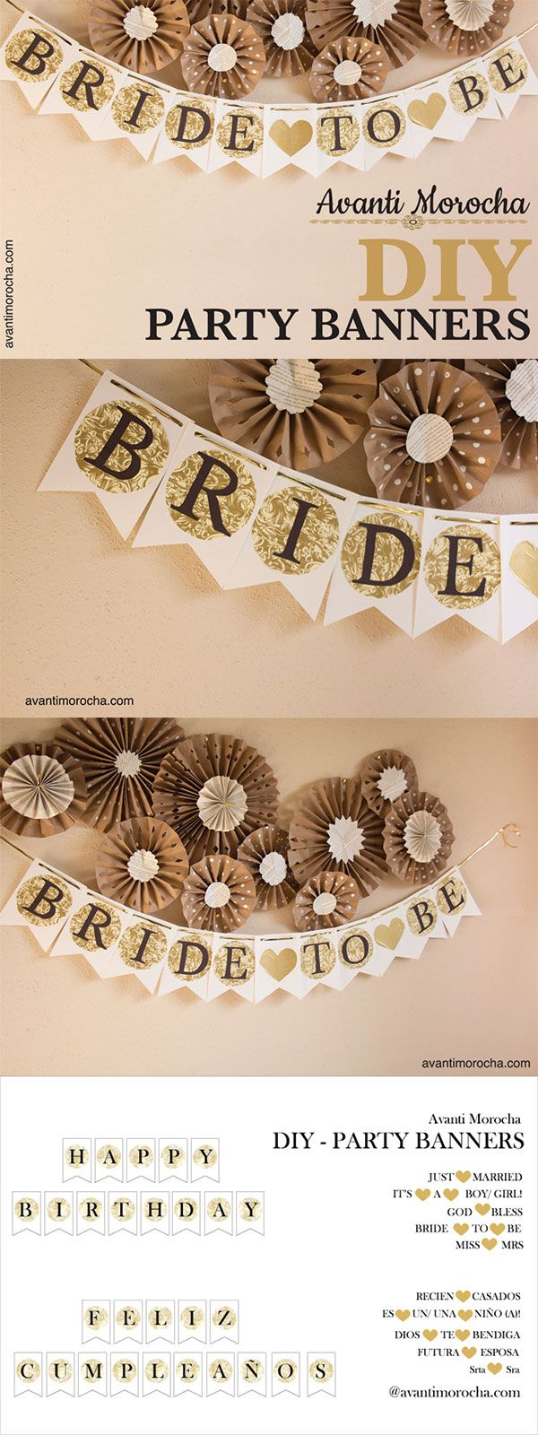 DIY Party Banners / decorations / events / bridal shower, birthday, baptism, weddings, baby showers. Bodas, bautizos, despedida de soltera