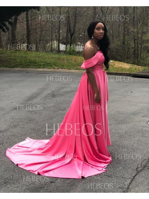 03d59991c60362 A-Line Princess Sleeveless Off-the-Shoulder Ruffles Satin Court Train  Dresses - Prom Dresses - Hebeos Online