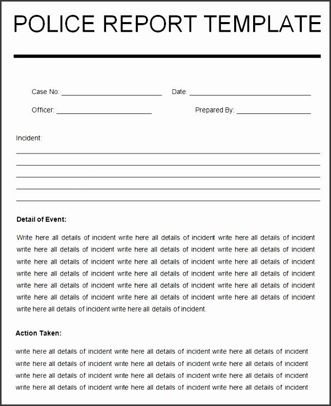 Police Report Template Pdf Awesome 10 Crime Report Template Sampletemplatess Sampletemplatess In 2021 Report Template Police Report Template Report Template Word