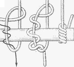 морские узлы - удавка с полуштыками. а) схема вязки, б) вязка удавки с полуштыками