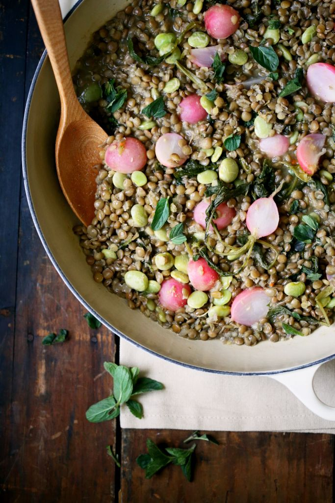 Braised Lentils with Radishes Fava Beans +Mint | Yummy Beet