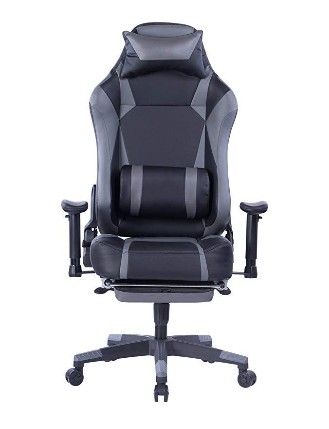 Von Racer Big And Tall Gaming Chair With Footrest Adjustable Tilt Back Angle And 2d Arms Ergonomic High Back Racing Leather Chair Gaming Chair Computer Chair
