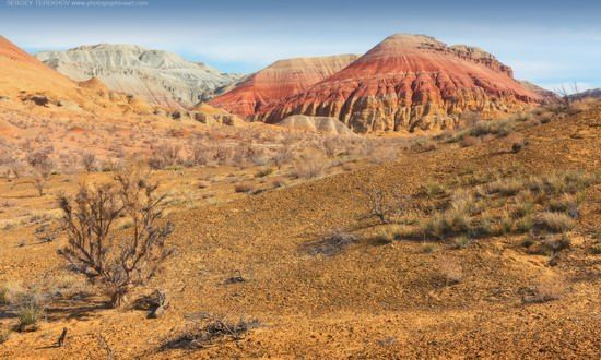 Multicolored Aktau Mountains in Altyn Emel National Park, Kazakhstan