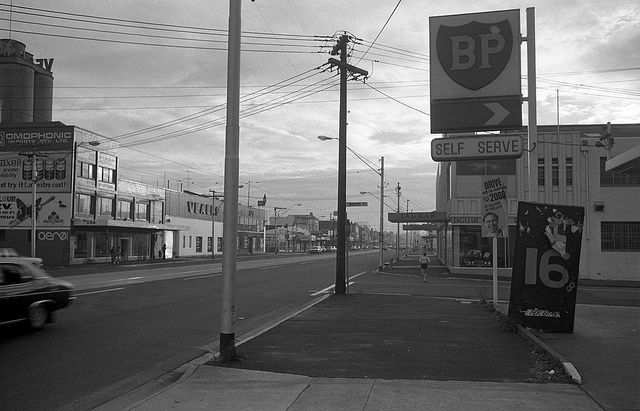BP Service Station Bridge Road Richmond Melbourne 1978 by David Wadelton