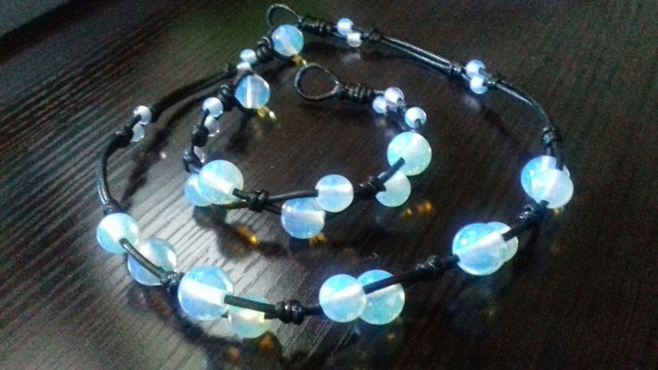Opalite & leather
