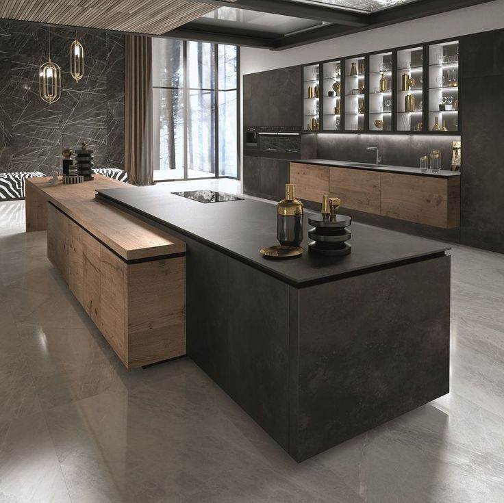 Kitchen goals from @snaiderousa 🖤🖤🖤 . #architecture #kitchendesign #int…