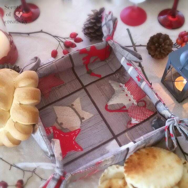 cestino per il pane fantasia natalizia