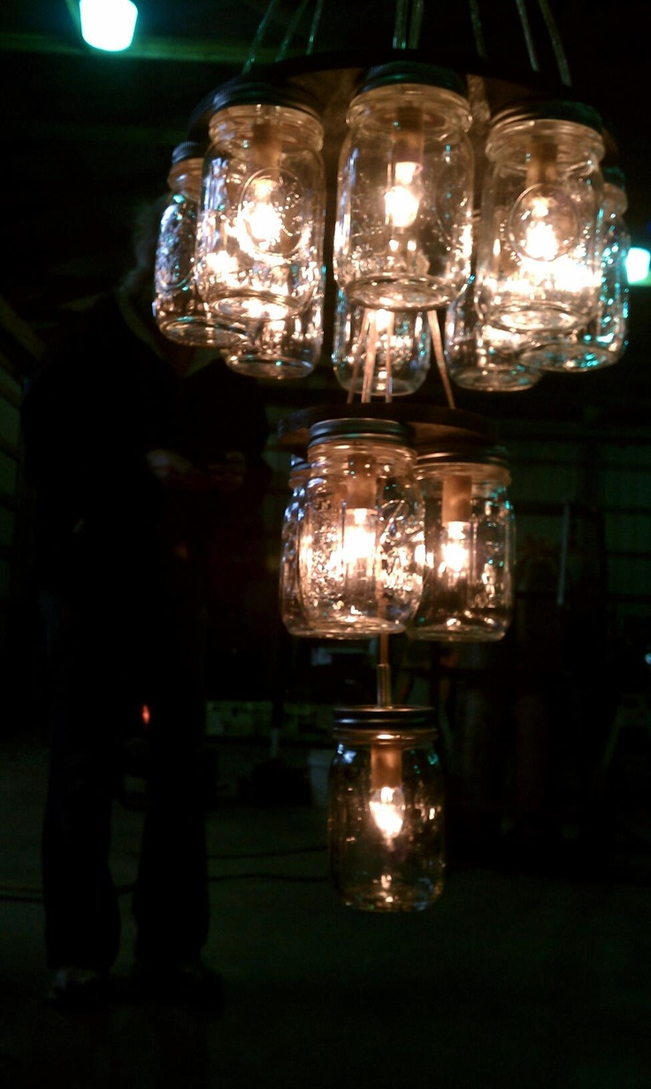 25 best mmj images on pinterest jars glass and glass jars diy jar chandelier 3 once we got the wood cut it was a breeze arubaitofo Choice Image