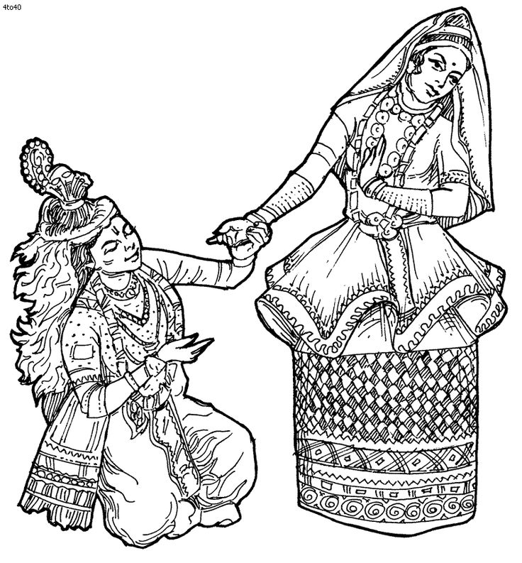 Folk Dances of India Coloring Pages, Manipuri Dance Coloring Page, Folk Dances…