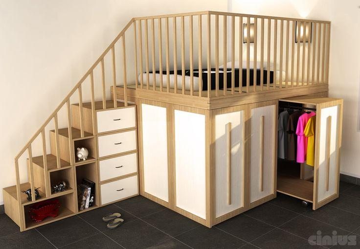 letto spazio con protezioni in legno