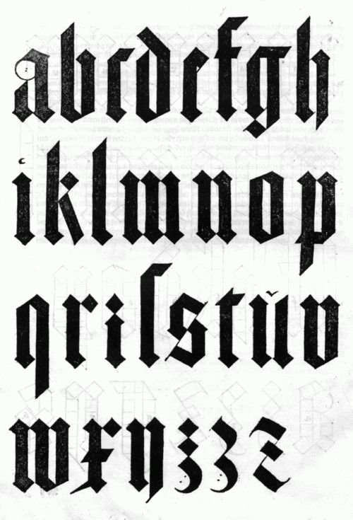 Albrecht Düher's black letter. I remember leaning over my work table, carefully tracing these letterforms in my Type 1 class. There was something very cathartic about tracing letters.