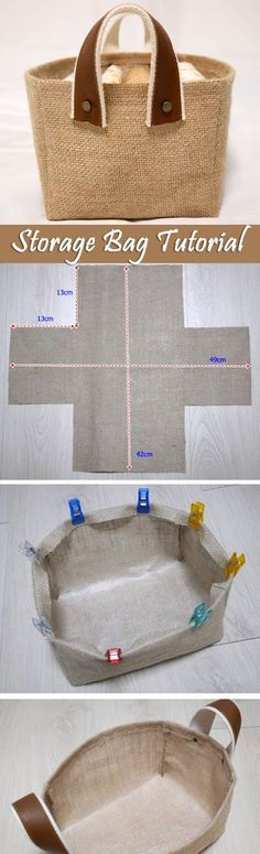 Storage Fabric Burlap Box Pattern and Tutorial. Bag Step by step photo tutorial…
