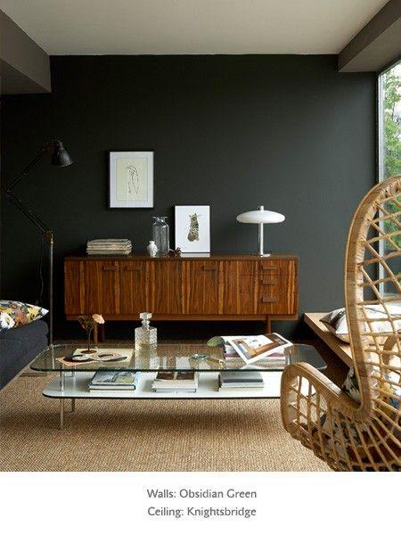 Little greene's Obsidian green lounge wall colour.