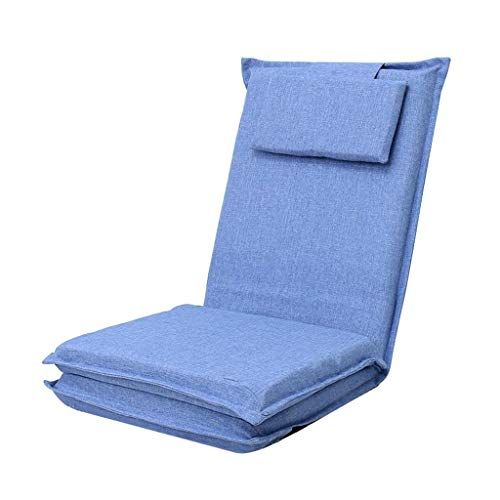 Lazy Sofa Bed Foldable Adjule Floor Chair Gaming Couch With Pillow Backrest Tatami Reclining Cotton Hemp Blue