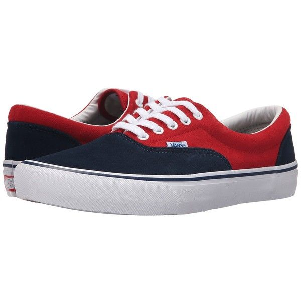 Vans Era Pro ('76 Navy/Red) Shoes (975 ARS) ❤ liked on Polyvore featuring shoes, red shoes, flexible shoes, lightweight shoes, vans footwear and navy shoes