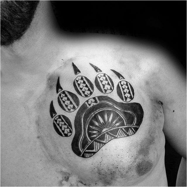 Tattoo Polynesian Bear Claw Chest Tattoo On Gentleman Click To See More Claw Tattoo Bear Claw Tattoo Tribal Bear Tattoo