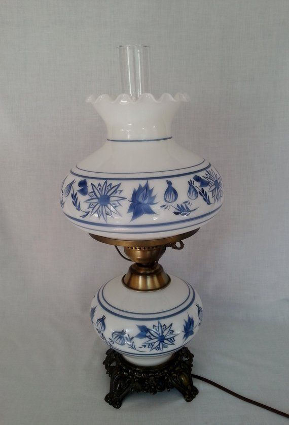 Vintage Gwtw Style Parlor Table Large Tall Hurricane Lamp Blue And White Hand Painted Floral Glass 3 Way Electric Lamp W Shade Electric Lamp Lamp Parlor Table
