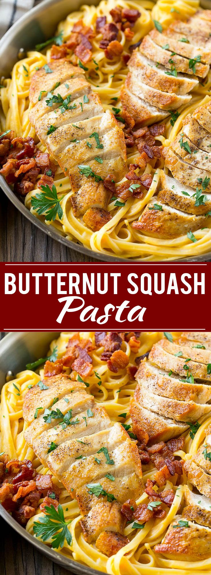 This recipe for butternut squash pasta is linguine in a creamy butternut squash sauce, topped with chicken, bacon and herbs. An easy and delicious dinner that's perfect for fall! #FamilyPastaTime #ad                                                                                                                                                                                 More