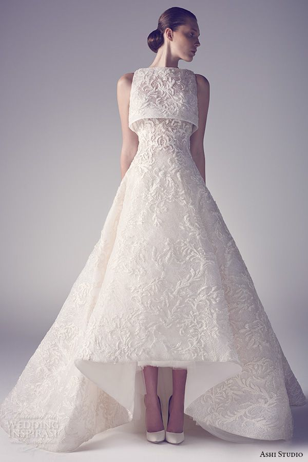 ashi studio couture 2015 sleeveless bateau neckline embroidery a line white wedding dress