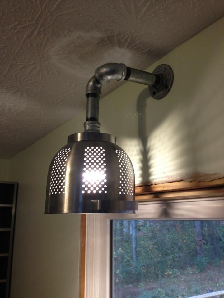 Another IKEA hack: Pretty cool kitchen light made from an Ordning colander and some galvanized pipe