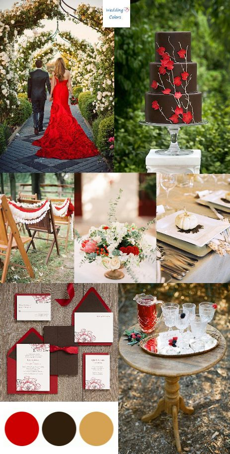 {Chocolate Brown, Ivory and Red} Fall Wedding Inspiration   Everything about these colors scream out YES to me! Not typical but oh so beautiful. And her dress!!!! LOVING IT!