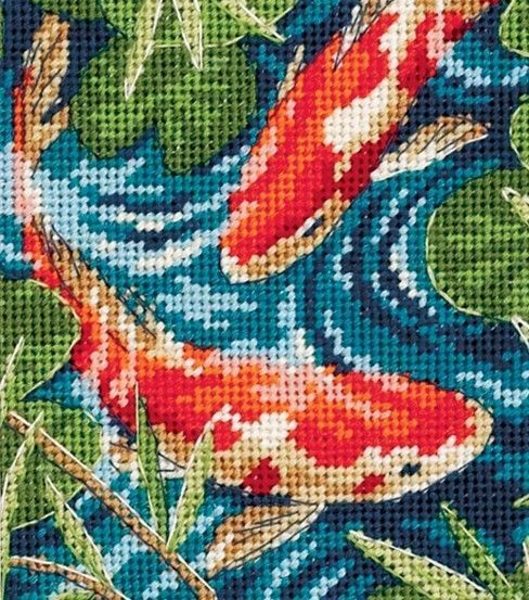 When you want a cross stitch or needlework design that you can stitch easily, choose the Dimensions Koi Pond Mini Needlepoint Kit 5 x 5. The vibrant colors and striking fish in a pond design in this m