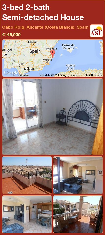 3-bed 2-bath Semi-detached House in Cabo Roig, Alicante (Costa Blanca), Spain ►€145,000 #PropertyForSaleInSpain
