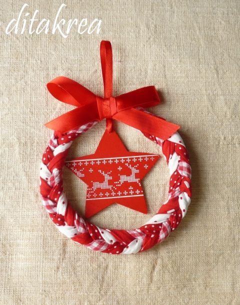 Karácsonyi ajtódísz skandináv stílusban, Karácsonyi, adventi apróságok, Karácsonyfadísz, Karácsonyi dekoráció, Meska