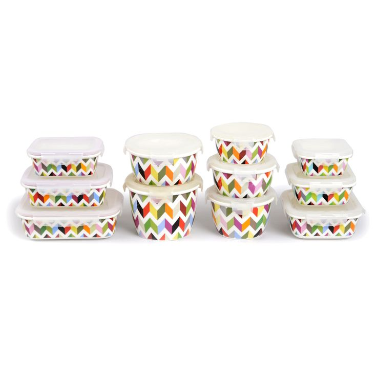 French Bull Porcelain Storage, In Ziggy   Multi Colored Chevron. So Many  Shapes And