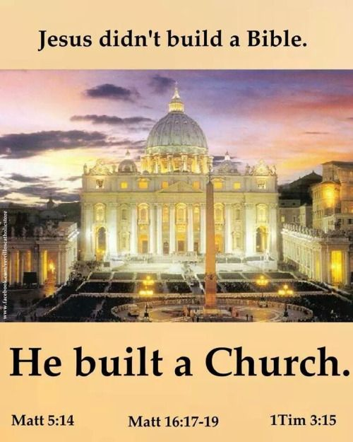 """""""You are Peter, and upon this Rock, I will build MY CHURCH.""""  Christ didn't say anything about """"read my book, and decide for yourself how to follow me.""""  He established a Church, and later on in the late fourth century, God gave us the canon of the Bible through this Church."""