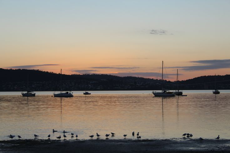 L1M1AP2 -  Time of day: Sunrise looking towards Lindisfarne, Tasmania. F/6.3, Exp 1/125, ISO 100 (Auto), Focal Length 55mm.