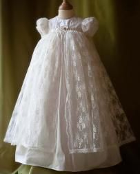 ANGELS + FISHES AMELIE Silk + Lace Christening Gown