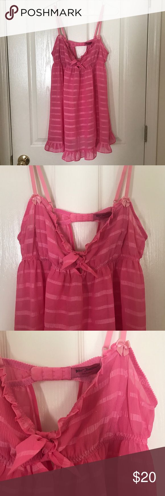 """NWOT Betsey Johnson Sleep Teddy NWOT sweet pink on pink striped Betsey Johnson sleep teddy with adjustable straps and bow details. 24.5"""" from front top bows to bottom hem. Cute small open back detail. Make an offer or bundle for discount! Betsey Johnson Intimates & Sleepwear Chemises & Slips"""