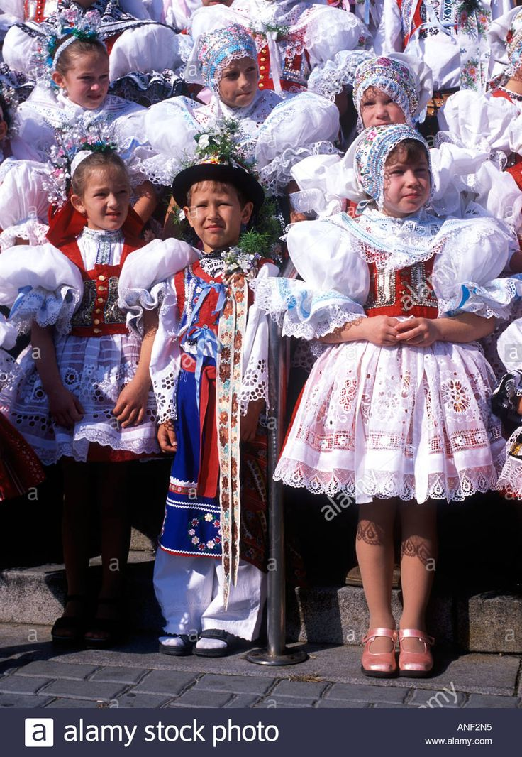 Moravian Folk Costume In Feast Dubnany Czech Republic Stock Photo ...