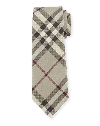 Textured+Check+Silk+Tie,+Taupe+by+Burberry+at+Neiman+Marcus.