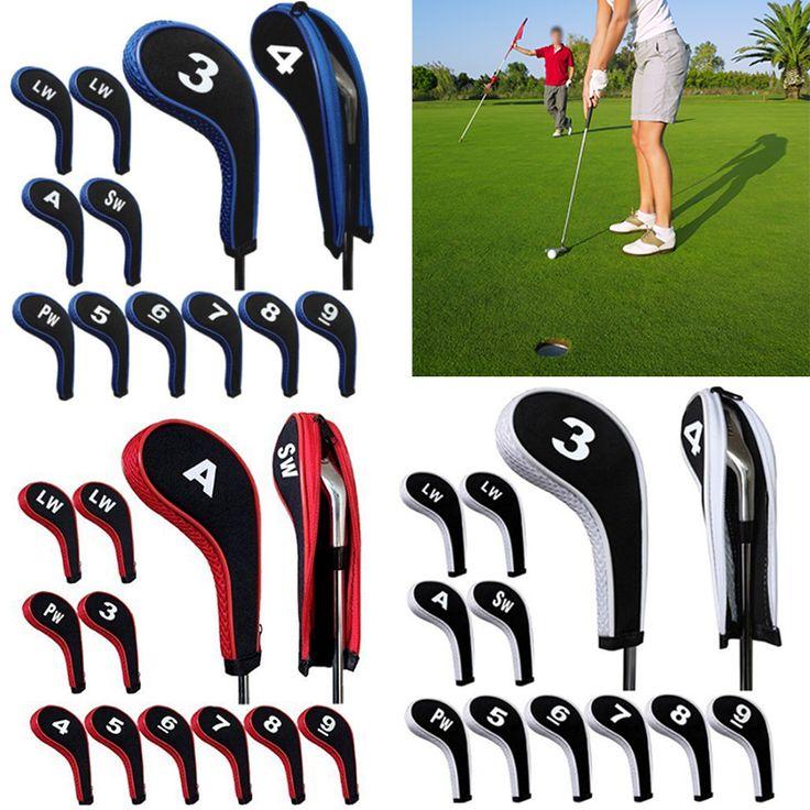 Chất Lượng cao 12 Cái Cao Su Neoprene Golf Head Cover Golf Club Sắt Putter Bảo Vệ Set Số Printed với Dây Kéo Dài cổ
