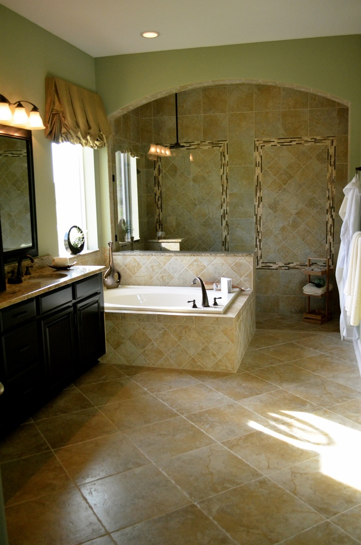 Beautiful master bath walk in shower with tile galore for Model bathrooms pictures