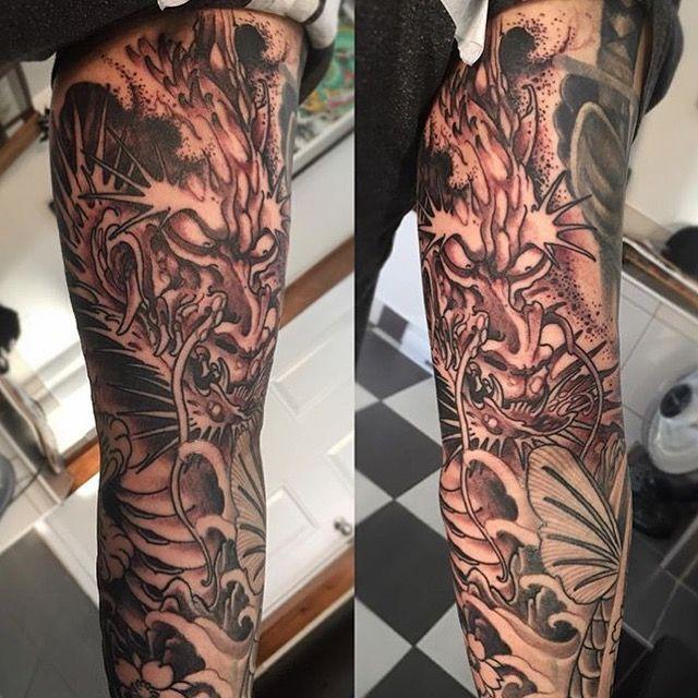 Japanese sleeve in progress, black and grey Dragon