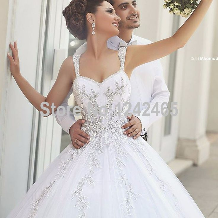 Saudi Style Sweetheart Ball Gown Wedding Dresses Sweep Train White Tulle Country Wedding Gown Plus Size With Appliqued MC174