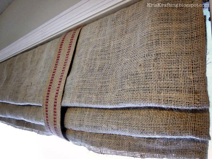 burlap, fabric lining, upholstery webbing, KrisKraft: Ryanu0027s DIY Roman  Shades. *