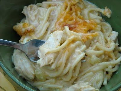 Umm comfort food. Old Fashioned Cheesy Chicken Spaghetti