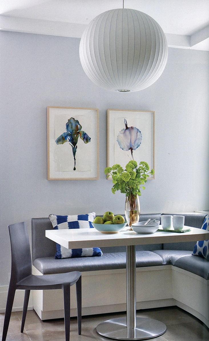 Modern Gray Breakfast Nook with Blue Accents - Luxe Interiors + Design