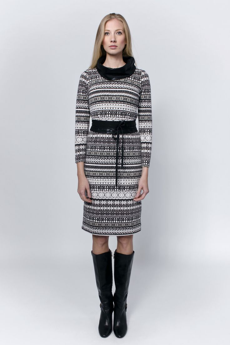 Dress with grey patterns, black cowl collar and waist belt