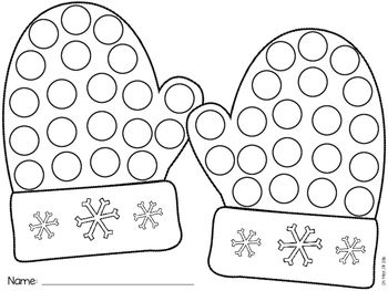 Free! Winter Mitten Dauber Worksheet
