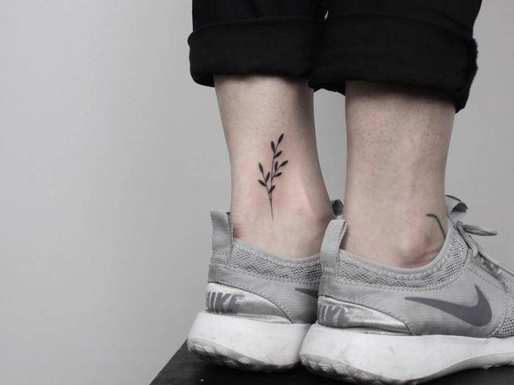 Hand poked twig on the left inner ankle. Tattoo Artist: Lara M. J.
