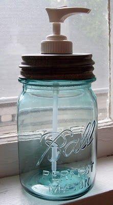 .: Soap Dispenser, Mason Jars Soaps, Foam Soaps, Meridian Roads, Decor Ideas, Blue Ball Jars, Soaps Jars, Soaps Provide, Soaps Pumps