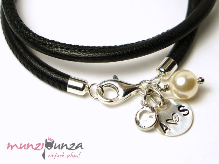 Namensarmbänder - Edles Armband  LEDER&925 Silber Art. 202 In... - ein Designerstück von munzipunza bei DaWanda