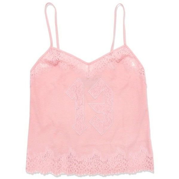 Puma FENTY by Rihanna Women's Lace Trim Cami- Pink (70 BHD) ❤ liked on Polyvore featuring intimates, lace trim camisole, lace trim cami, pink cami and pink camisole